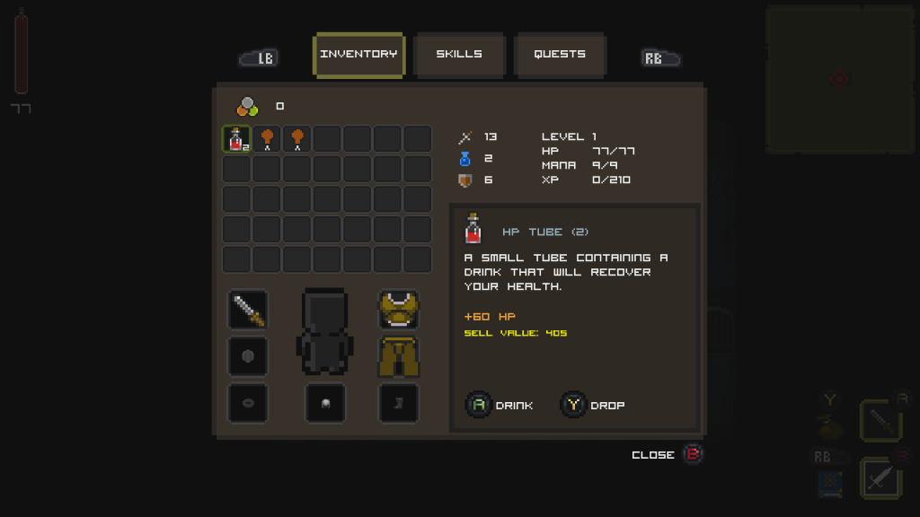 Quest of Dungeons Xbox One inventory