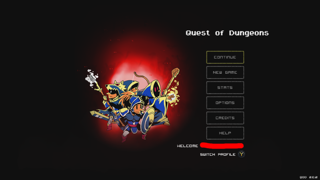 Quest of Dungeons Xbox main screen